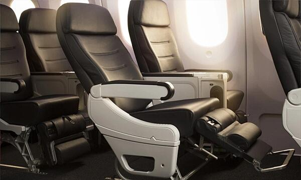 The plush and comfortable premium economy class of Air New Zealand - perfect for affordable long-haul travel.
