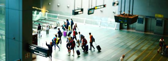 Passengers rushing in the airport