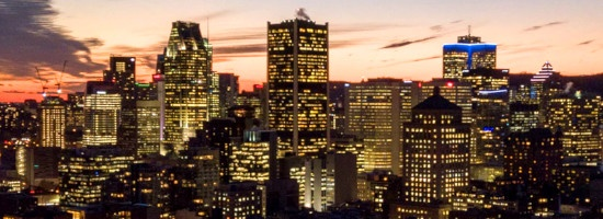 Montreal, Quebec at sundown