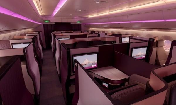 Qatar Airways' sleek and modern Q Suite business class