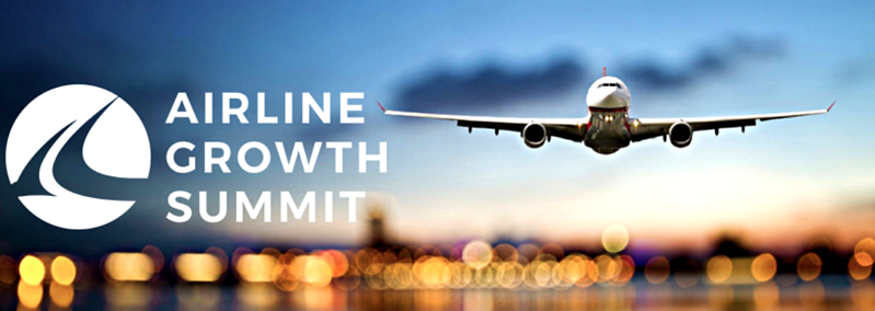 The Airline Growth Summit event logo & a plane landing on a runway