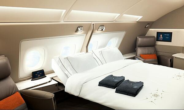 One of the double suites aboard Singapore Airlines' extremely luxurious first class,
