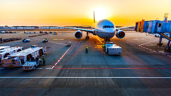 Airplane preparing to board