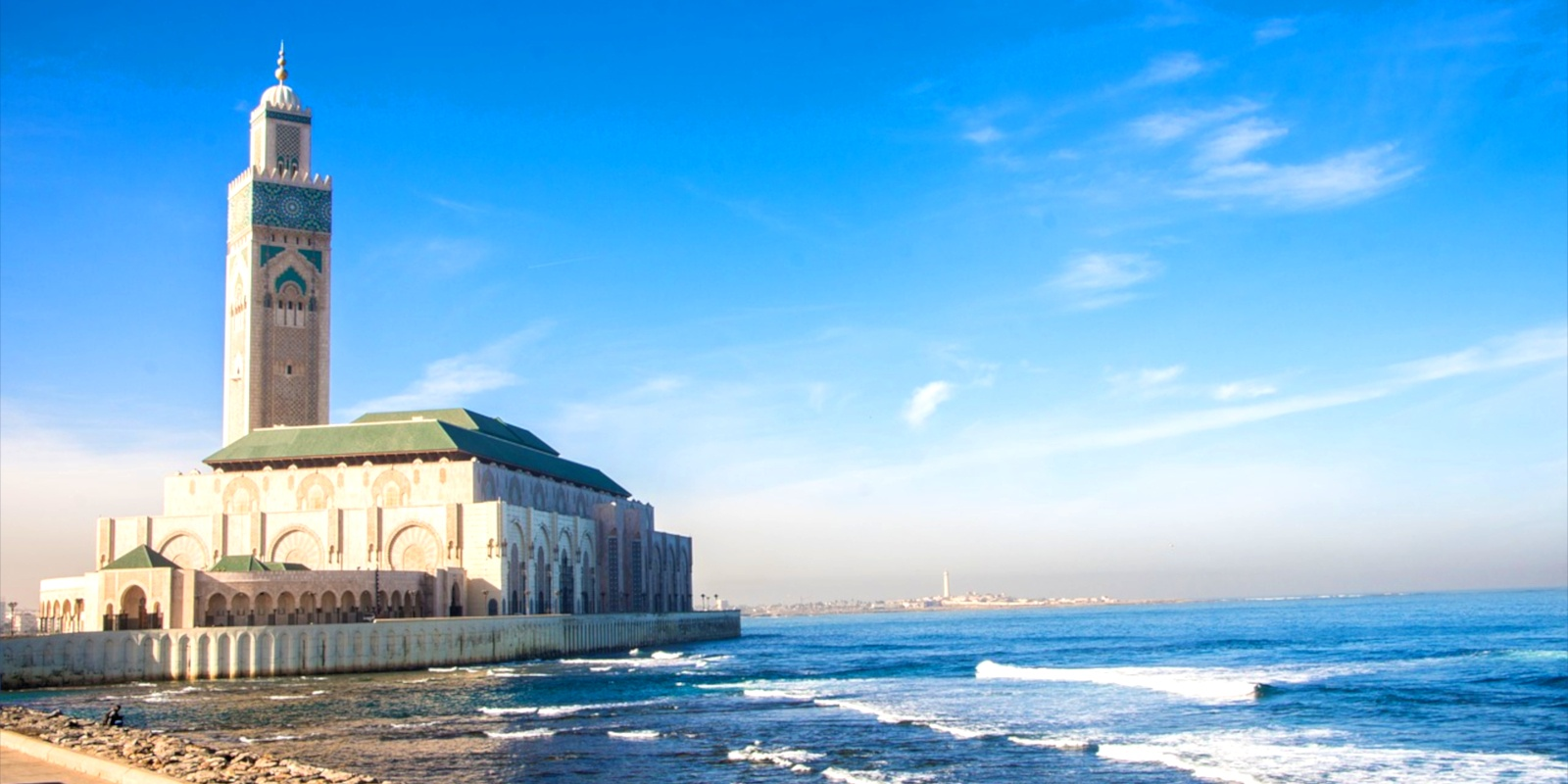 Casablanca's Hassan II Mosque overlooks the Atlantic ocean, standing tall at an astounding 60 stories.