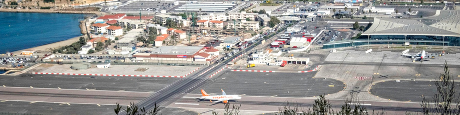 Panoramic view of the Gibraltar airport.