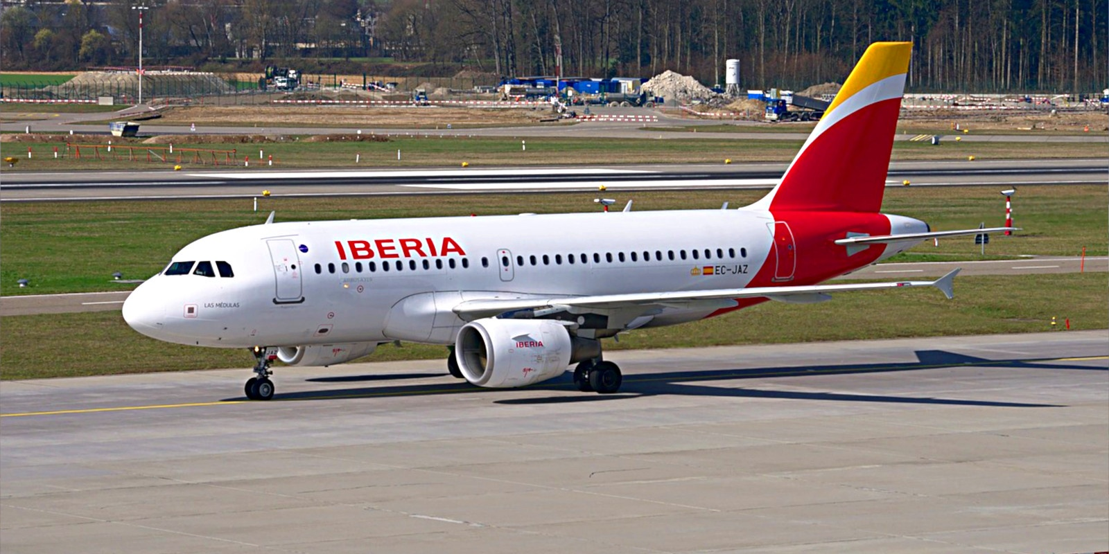 An Iberia airliner on the tarmac.