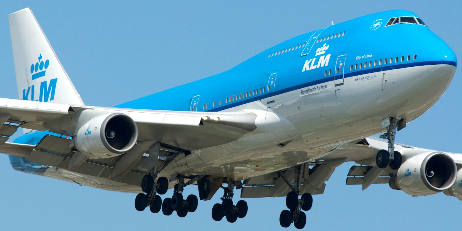 A massive KLM airliner coming in for a landing.