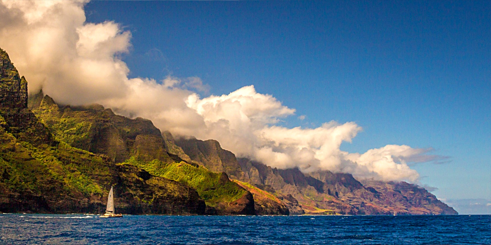 The windswept cliffs of the Na Pali Coast State Park in Kapaa.