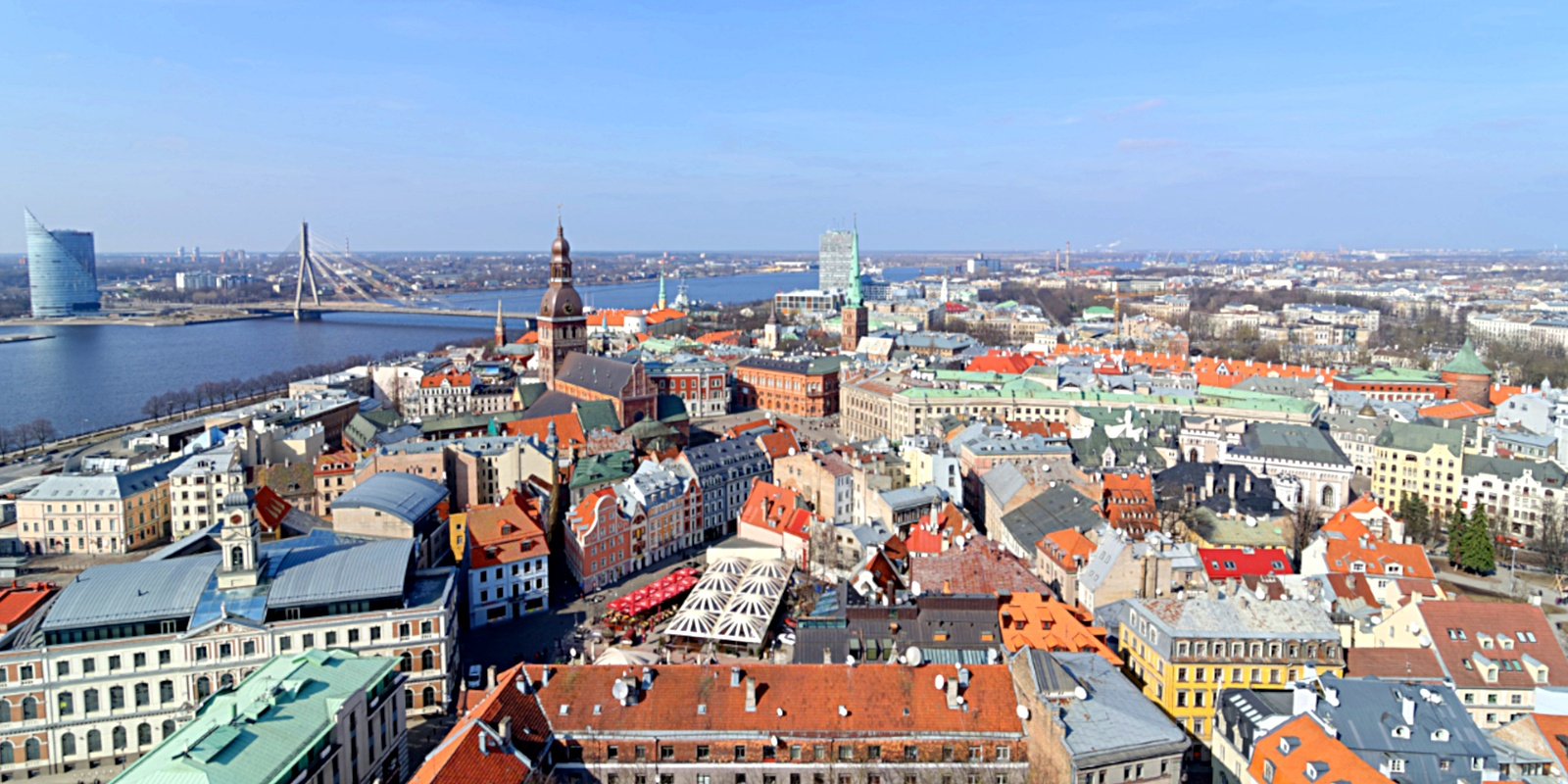 Riga's Old Town is split down the middle by the Daugava River.